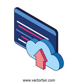 technology screen and cloud storage icon