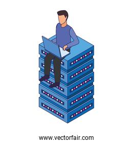 faceless man using a laptop computer and sitting on data storage center server