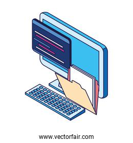 file documents folder and computer icon