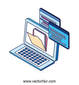 laptop computer with file design, flat style