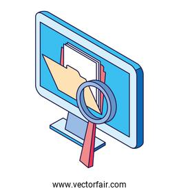 computer with folder and magnifying glass