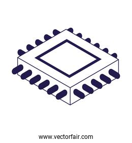electronic chip icon, flat design