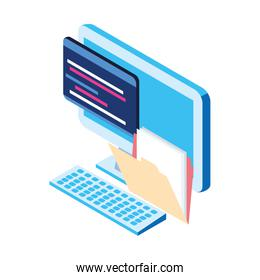 file documents and computer icon