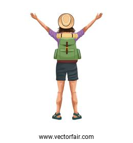woman back with arms up and backpack icon, flat design