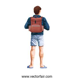 man back with backpack icon, flat design