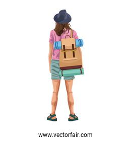 woman back with camping backpack icon