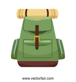 camping backpack with sleeping bag icon