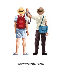 men backs with camping backpacks and hats icon
