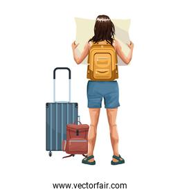 explorer woman back with travel suitcases and backpack icon