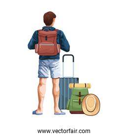 man back with travel suitcase and backpack icon