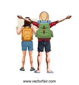 man back with camping backpack and woman back with map and backpack icon