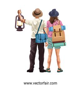 man and woman back with travel bags and lantern icon