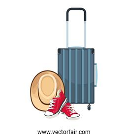 travel suitcase with hat and red shoes icon
