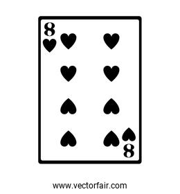 eight of hearts card icon, flat design