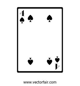 four of spades card icon, flat design