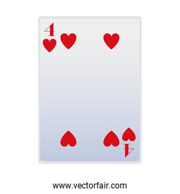 four of hearts card icon, flat design