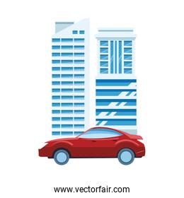 sport car and modern buildings icon, colorful design