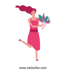 happy woman with flowers bouquet icon, flat design