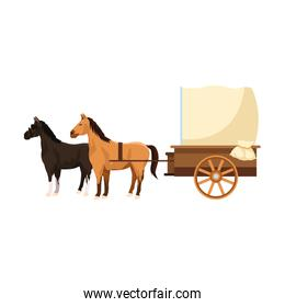 western carriage with horses icon