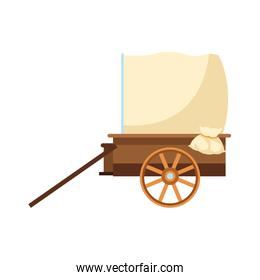 western carriage icon, flat design