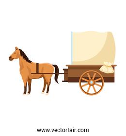 horse and vintage carriage icon