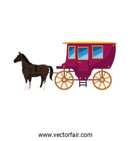 vintage carriage and horse icon, colorful design