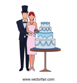 married couple standing around the wedding cake icon, flat design