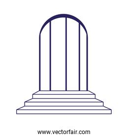 door and stairs icon, flat design