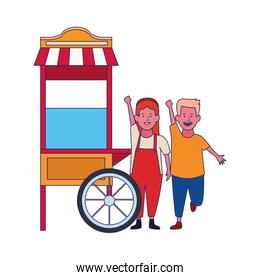 happy girl and boy and popcorn cart icon