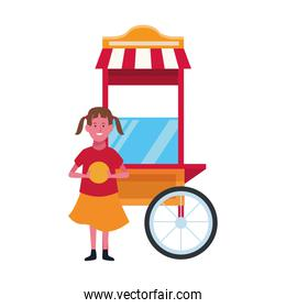 happy girl and popcorn cart icon