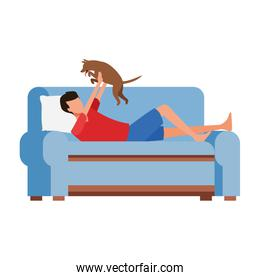 man with a cat lying in couch, colorful design
