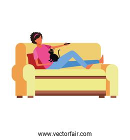 woman with a cat lying in couch