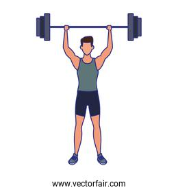 avatar man lifting weights icon, flat design