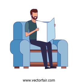 man reading a newspaper sitting on couch icon