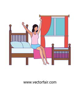 woman sitting on bed and Stretching Herself After Sleep over window and white background