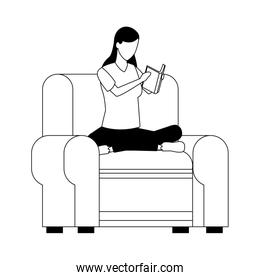 avatar woman relaxed sitting on couch reading a book