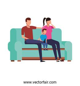 family with little kid on couch icon, flat style