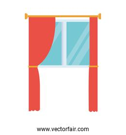 window with curtains icon, flat design