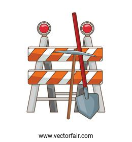 safety barrier with pickaxe and shovel icon