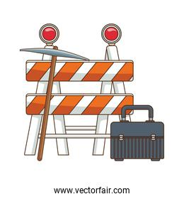 safety barrier with pickaxe and tools box icon