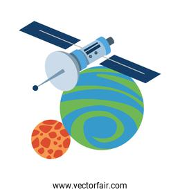 satellite with space planet icon
