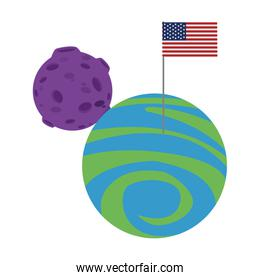 moon and planet with american flag