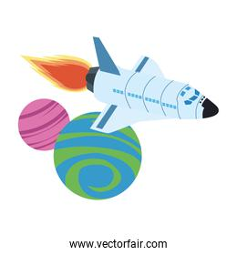 spaceship flying around the space planets design over white