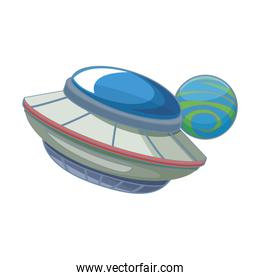 flying saucer and space planet icon