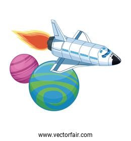 spaceship flying around the space planets icon