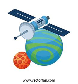 satellite with space planet scene