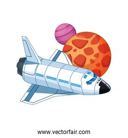 spaceship and planets icon, colorful design