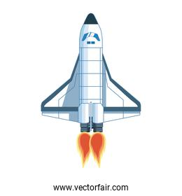 front view of spaceship icon, colorful design