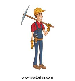 cartoon construction worker holding a tool icon, colorful style