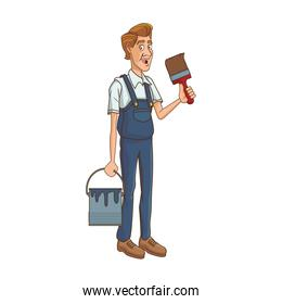 painter worker holding a paint bucket and brush icon